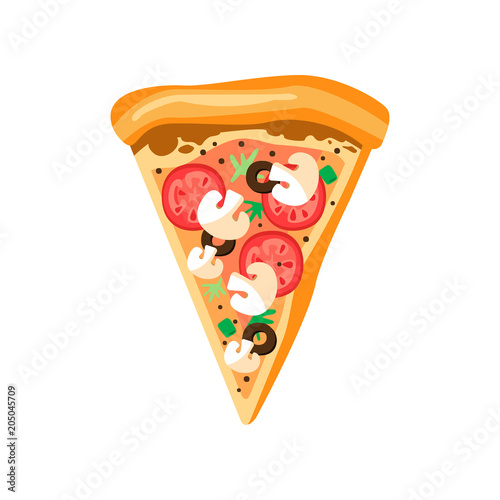 Triangle pizza slice with fresh vegetables and crispy crust. Tasty fast food. Flat vector element for cafe or pizzeria menu - 205045709