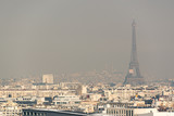 Aerial view of the Eiffel tower in the fog in Paris. City air pollution concept - 205051142