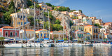 Panorama of Symi, Dodecanese island, Greece - 205051184