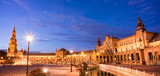 Plaza de Espana (Spain square) at night in Seville, Andalusia - 205051336
