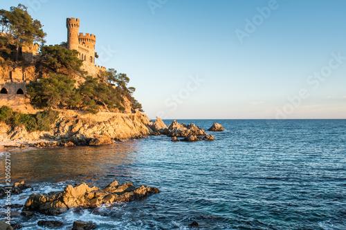 Plexiglas Blauw Landscape of Lloret de Mar Castle and its beach in a sunny afternoon, Spain.