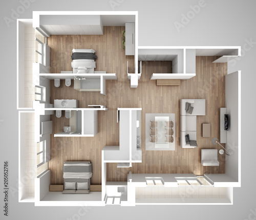 Apartment Flat Top View Furniture And Decors Plan Cross Section Best Apartments Plans Designs Concept