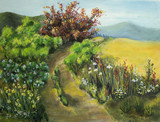 Old dirt road surrounded with wildflowers (oil on canvas)