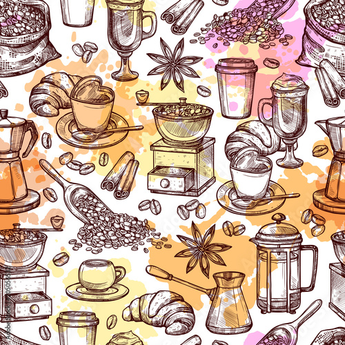 Coffee Attributes Hand Drawn Seamless Pattrn. Coffee Sketch Background With Splashes And Blots