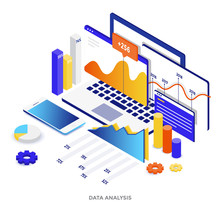 Flat Color Modern Isometric Illustration  Data Analysis Sticker