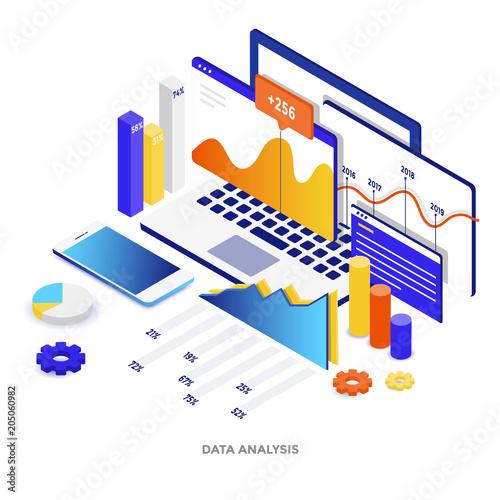 Flat color Modern Isometric Illustration - Data Analysis
