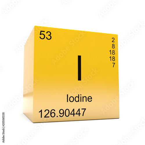 Iodine Chemical Element Symbol From The Periodic Table Displayed On