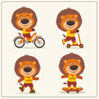 Set of isolated funny lion on bike, skateboard, scooter and roller skates.
