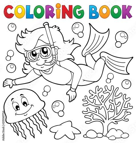 Coloring book girl snorkel diver