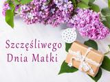 Dzień matki, kwiaty bzu i prezent na drewnianym tle.