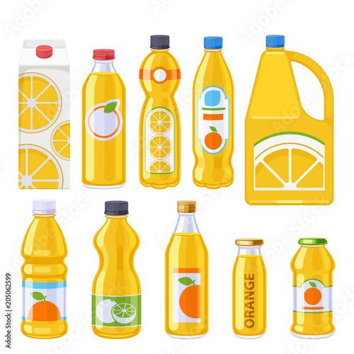 Orange juice bottles icons set.