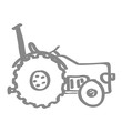 Handgezeichneter Traktor in grau