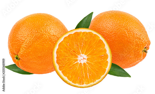 Juicy oranges isolated on white background with clipping path