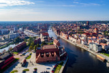 Gdansk, Poland. Aerial skyline with Motlawa river, bridges, marina, Baltic Philharmonic Hall and famous monuments
