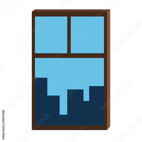 Cityscape from window vector illustration graphic design