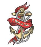 Ship Anchor Colorful Tattoo - 205075784