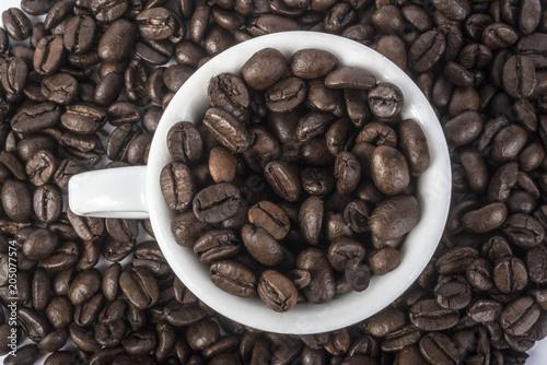 Canvas Koffiebonen chicchi di caffè nella tazzina