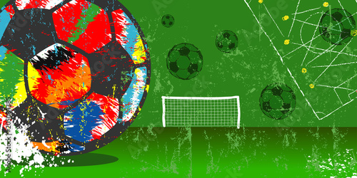 Fototapeta Grungy soccer or football illustration, vector with multicolored soccer ball, free copy space