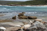 Sydney Australia, rocks on shoreline at Marley beach in the Royal National Park
