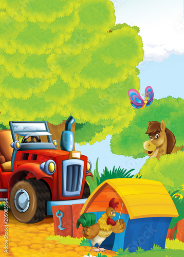 cartoon happy and funny farm scene with tractor - car for different tasks - illustration for children - 205085964