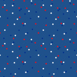 Seamless pattern background with stars in USA flag colors, suitable for national american holidays design. - 205086378
