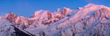 Mont Blanc mountain range at sunset in Upper Savoy. From left to right, Aiguille du Midi needle, Mont Blanc du Tacul, Mont Maudit, Mont Blanc and Dome du Gouter. Chamonix, Haute-Savoie, Alps, France - 205088317