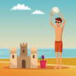 Young man at beah with ball and sand castle vector illustration graphic design