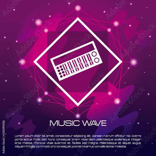 Canvas Muziek Music wave infographic with equalizer vector illustration graphic design