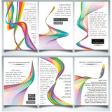 Abstract wavy lines backgrounds set. Ideal for brochure & flyer designs, cover templates. - 205094956