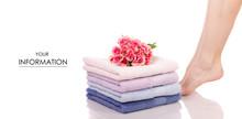 Female Feet Legs Heels Color Bath Towels Flower Beauty Spa Pattern Sticker