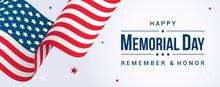 Memorial Day Banner  Illustration Usa Flag Waving  Stars On Bright  Sticker
