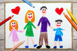 Colorful hand drawing: Happy family, mother, father and their children