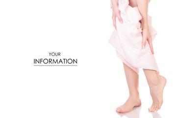 Female feet heel pink white bath towel beauty spa pattern © evgenyjs1
