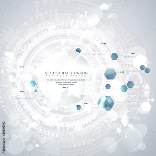 Technologii tło i abstrakcjonistyczny cyfrowy technika okrąg z różnorodnymi technologicznymi elementami. Ilustracji wektorowych. EPS 10.