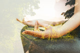 Double exposure concept of woman practicing Yoga