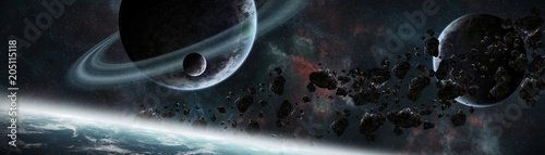 Plexiglas Heelal Panoramic view of planets in distant solar system 3D rendering elements of this image furnished by NASA