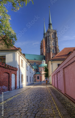 The view on a clear day at the historic Cathedral Island. Wroclaw, Poland.