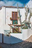 Kanarische Hausfassade mit Kaktus in einem Bergdorf auf Gran Canaria