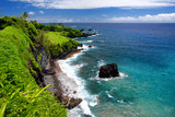Rough and rocky shore at south coast of Maui, Hawaii