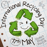 Cute Doodles in Notebook Paper for International Recycling Day Celebration, Vector Illustration - 205121915
