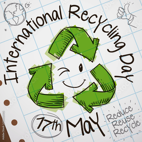 Fototapeta Cute Doodles in Notebook Paper for International Recycling Day Celebration, Vector Illustration