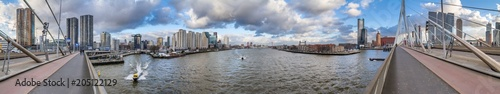 Plexiglas Rotterdam Cityscape, panorama, banner - view from the Erasmus Bridge to the River Maas and the City of Rotterdam, The Netherlands