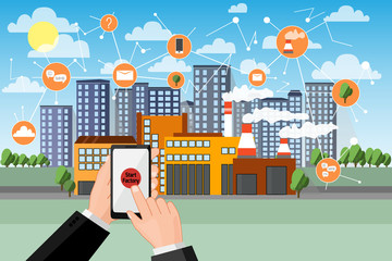 Start smart factory. Phone in hands starts and manage huge plant with application. Network icons. Cityline background. Cartoon flat vector illustration. © kozhevnikofa