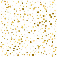 Gold stars. Star confetti celebration, Falling golden abstract decoration with stars for party, birthday celebrate, anniversary or event, festive. Festival decor with golden stars.
