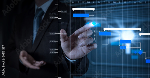 businessman hand working with touch screen