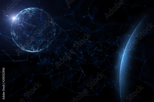 Fotobehang Heelal Futuristic blue colored abstract cyberspace globe with flare of light, view from space. Copy space illustration background
