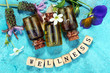 Quadro Wellness sign with wooden cubes
