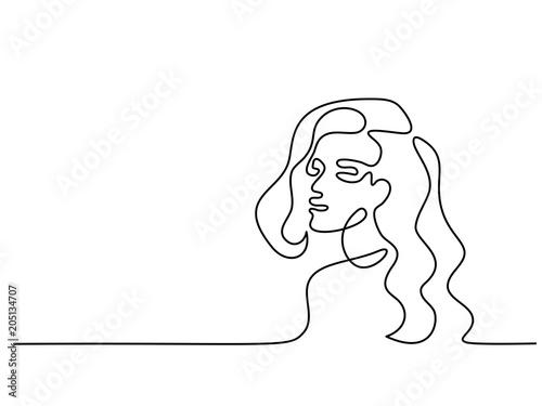 Wektor ciągła linia. Streszczenie portret młodej kobiety. Ilustracji wektorowych. Koncepcja logo, karty, baner, plakat, ulotki