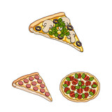 Different pizza cartoon icons in set collection for design.Pizza food vector symbol stock web illustration.