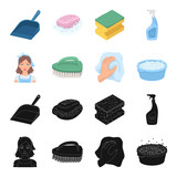 A cleaning woman, a housewife in an apron, a green brush, a hand with a rag, a blue wash hand basin with foam. Cleaning set collection icons in black,cartoon style vector symbol stock illustration web - 205141398